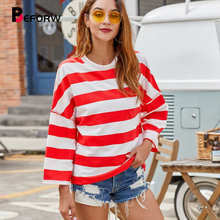 BEFORW 2019 Autumn Women Red Striped T-Shirt Tee Winter Casual Stylish Loose-Fitting Thick Stripes T Shirts Pullover