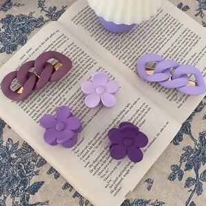 1 Pcs Cute Purple Twist Chain Hairpin Barrettes Duckbill Clip Flower Hair Claws Sweet Hairgrips for Women Girl Hair Accessories