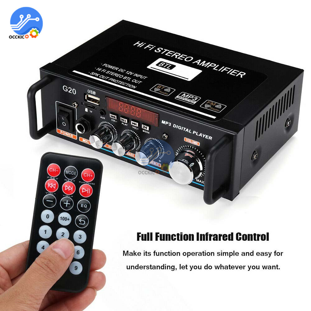 220V 600W Home Amplifiers HiFi Subwoofer Home Theater Sound System Audio Car Amplifiers FM TF AUX MP3 Player Remote Control