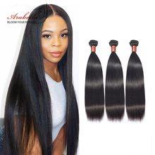 Arabella pelo teje 3/4 mechones 100% mechones de cabello humano postizo mechones 1B brasileño de la extensión del pelo recto de Remy del pelo teje mechones