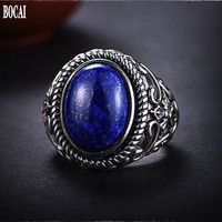 Retro court lapis lazuli ring for male personality 100% real 925 silver men's rings domineering simple index finger ring