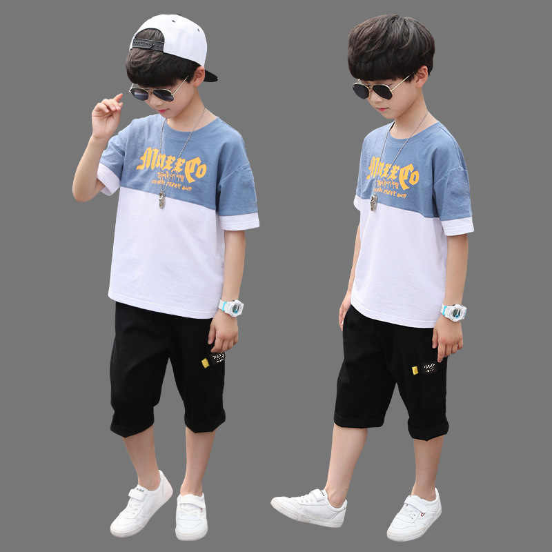 소년 의류 세트 여름 소년 의류 캐주얼 복장 티셔츠 + 바지 어린이 Tracksuit 십대 어린이 의류 정장 6 8 9 10 12 년