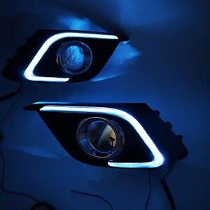 Image 4 - Carro piscando 2 pçs drl para mazda 3 mazda3 axela 2014 2015 2016 led drl luzes diurnas com sinal de volta luz nevoeiro cobrir