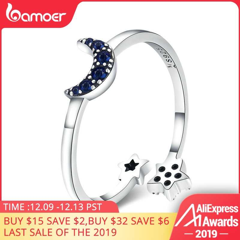 BAMOER Real 925 Sterling Silver Sparkling Blue Moon Star Clear CZ Finger Rings for Women Wedding Engagement Jewelry anel SCR437