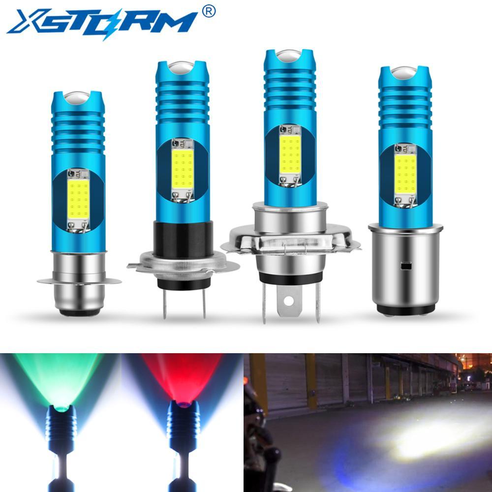 H7 P15D H6 BA20D LED H4 Motorcycle Headlight Bulbs COB RGB Changable Lamp Moto Lights Motorbike Accessories 12V 24V 6000K White