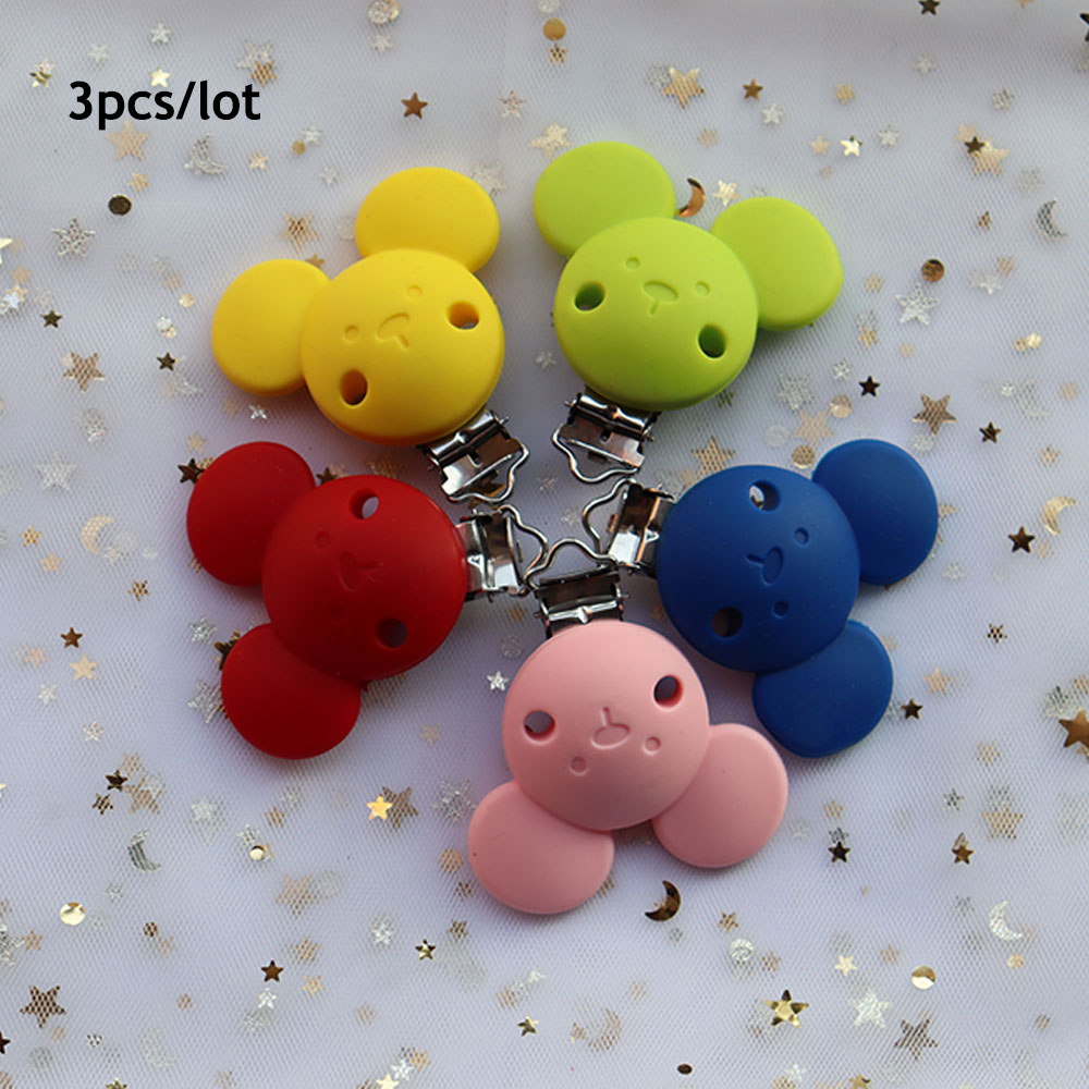 3Pcs Mouse Baby Pacifer Clips Perle Silicone Teether Clip DIY Baby Dummy Chain Nipple Holder Soother Animal Nursing Teething Toy