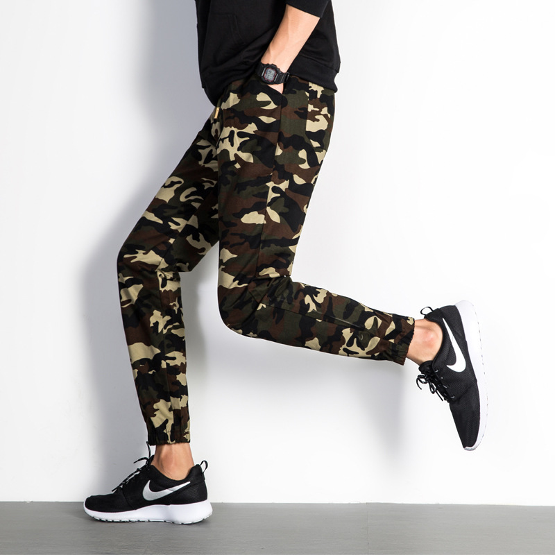 Four Seasons Paragraph Camouflage Athletic Pants Men's Large Size Skinny Harem Pants Casual Cargo Trousers
