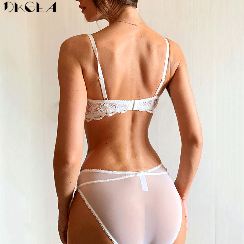 Brand Half Cup Bra Set Women Lingerie Embroidery White Brassiere Thin Cotton Push Up Bras Sexy Lace Underwear Set A B C D Cup 2