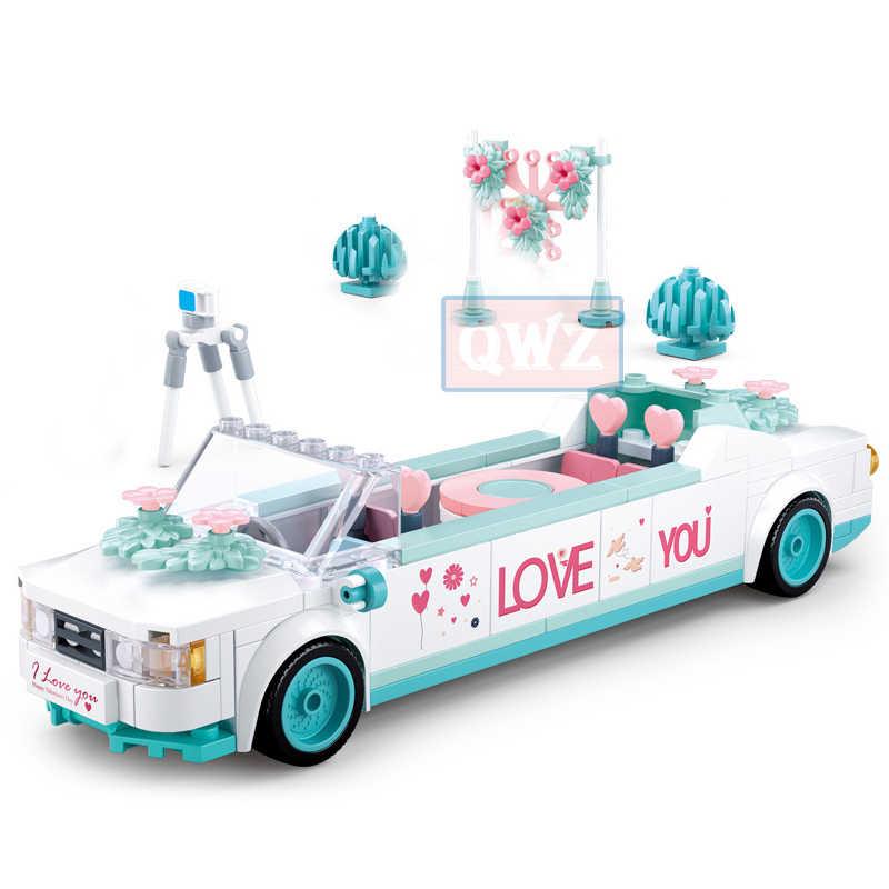 עיר חתונה מסיבת Legoes רכב ילדה חברים רומנטי חתונה שמלת דגם בניין בלוקים לבני נסיכת נסיך צעצוע ילדי מתנה