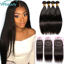 8 30 Straight Human Hair Bundles With Closure Peruvian Hair 3 Bundles with Closure Remy Hair Bundles with 4X4 5x5 6x6 Closure