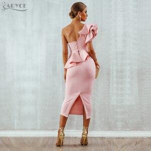Image 5 - Женское облегающее платье на одно плечо Adyce, соблазнительные комплекты с оборками и коротким рукавом, без бретелек, Клубное платье, 2020