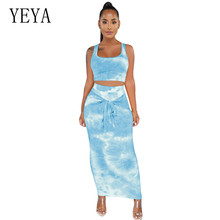 YEYA Women Hollow Out 2 Pieces Sets Bodycon Bandage Dress Elegant Sleeveless Vintage Print Pencil Femme Summer Party Wear