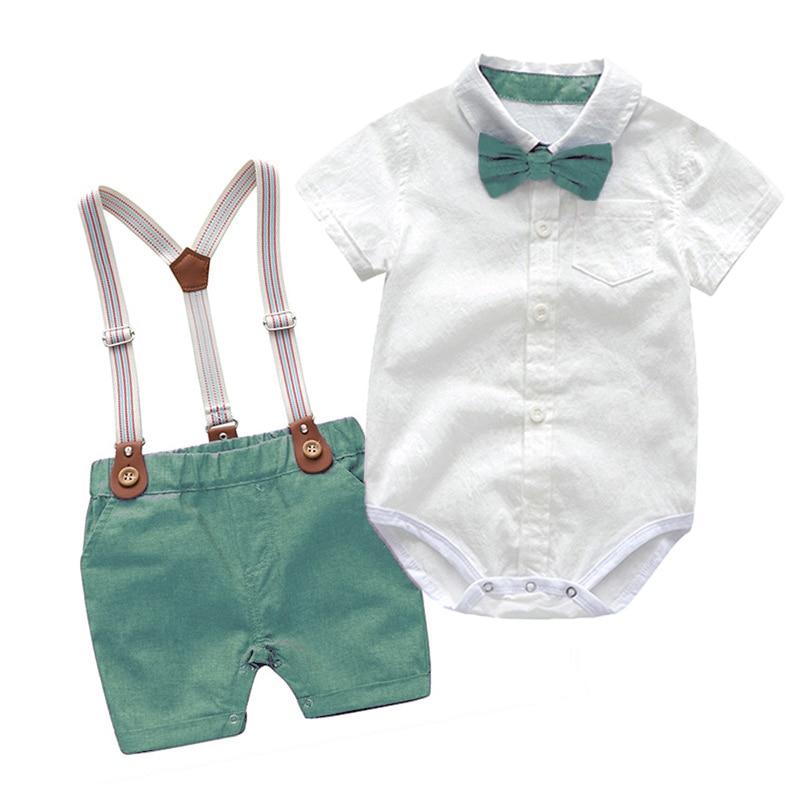 Baby Boy Clothes Summer Gentleman Birthday Suits Newborn Party Dress Soft Cotton Solid Rmper + Belt Pants Infant Toddler Set