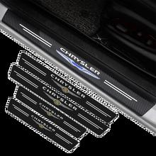 4 pçs para chrysler 300c 300 200 sebring fr jr pacifica pt cruiser logotipo do carro porta placa de limiar anti-risco de fibra de carbono adesivo