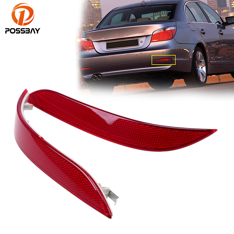 POSSBAY Car Rear Bumper Reflector Light for BMW <font><b>5</b></font> Series E60 Sedan 2003 <font><b>2004</b></font> 2005 2006 2007 Pre-facelift Warning Reflective image