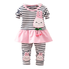2019 Spring Autumn Clothing Set Baby Girls Toddle Striped Coat Leggings Cotton Cartoon Rabbit Long Sleeved T Shirt Pants Clothes цена