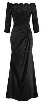 BacklakeGirls Elegant Lace Boat Neck Pleat Long Satin Evening Dress Floor-length Mother Of Bride Dress vestidos de mãe de noiva 4