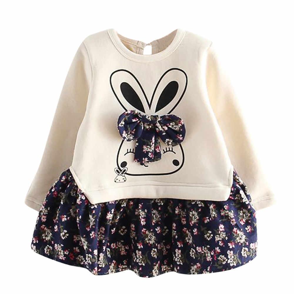 TELOTUNY Herfst Winter Cartoon Konijn Bunny Bloemenprint Prinses Party Mode Jurk Baby Peuter Baby Kids Meisjes L0731