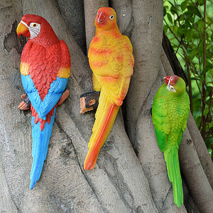 Image 3 - Resina papagaio estátua montado na parede diy árvore do jardim ao ar livre decoração escultura animal para escritório em casa jardim decoração ornamento