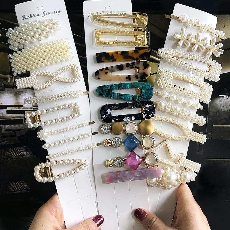 2020 New Fashion 1Set Women Girsl Elegant Pearls Hair Clips Headwear Hair Ornament Hairpins Barrettes Hairgrip Hair Accessories