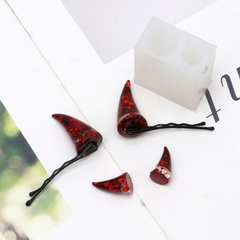 Cute Devil Horns Hair Clips Resin Molds Epoxy Resin Mould Jewelry Making Tools Food-grade Epoxy Silicone Diy Jewelrys