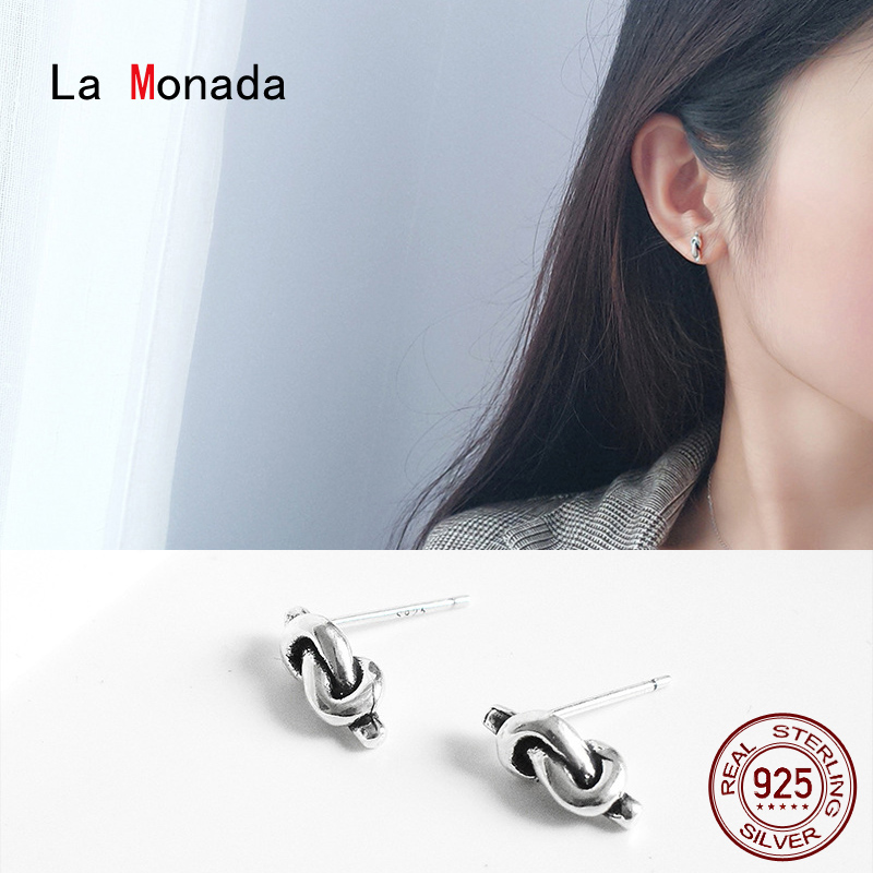 La Monada Stud Earrings For Women Silver 925 Minimalist Knot Fine Women Earrings In Jewelry Stud Earrings 925 Sterling Silver