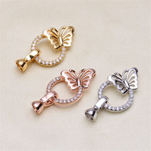 Wholesale Superior Quality Metal Zircon Silver/Gold/Rose Gold Clasps Hooks For Bracelet Necklace Connectors DIY Jewelry Making K028(China)