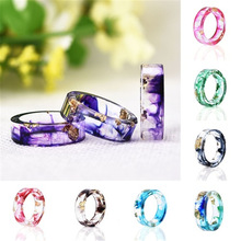 New Dried Flower Resin Ring Handmade Gold Foil Epoxy Art Couple Jewelry Gift