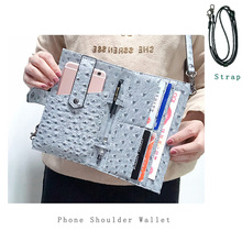 New Arrived Ostrich Leather Cell Phone Bag Embossed Ostrich Phone Wallet Pouch Strap Purse Phone Shoulder Bag