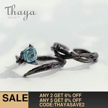 Thaya Rose Thorns s925 Silver Rings Blue Crystal Rose Flower Vintage Plant Valentine's Gift for Women Knot Black Fine Jewelry(China)