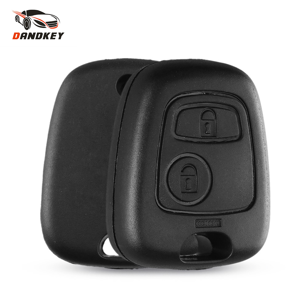 Dandkey remote key uncut lâmina chave do carro caso fob substituição capa escudo para peugeot 307 107 207 407 sem lâmina chave escudo