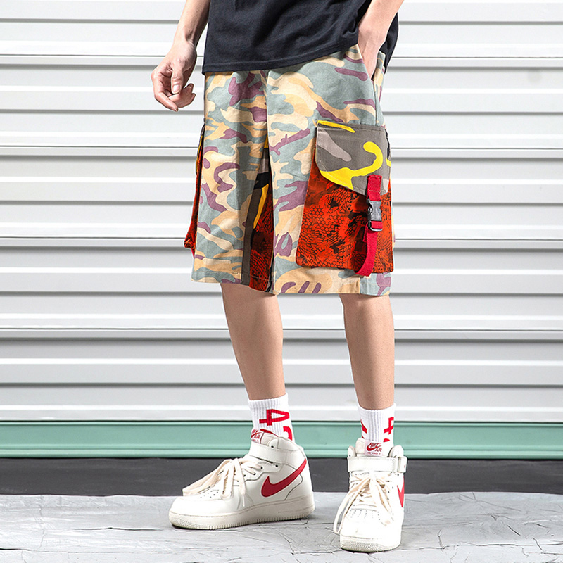 China Men Shorts Casual Big Sizes Streetwear Shorts Camo Hip Hop Stretch With Pockets Surf Board Roupas Mens Clothing XX60MS