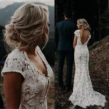 Modest Boho Mermaid Wedding Dress 2020 robe de mariee Sexy Open Back Lace Wedding Gowns Cap Sleeve Country Bridal Dress(China)