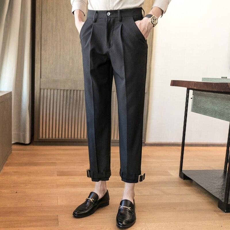 Men Business Casual Solid Color Suit Pant Male Streetwear Adjustable Hem Fashion Suit Pants Ankle-length Trousers