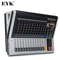 EYK EA120P Professional 12 Channels Audio Mixer Console Build in Power Amplifier 2 x 150W Bluetooth USB 24 Bit 16DSP 2 Display
