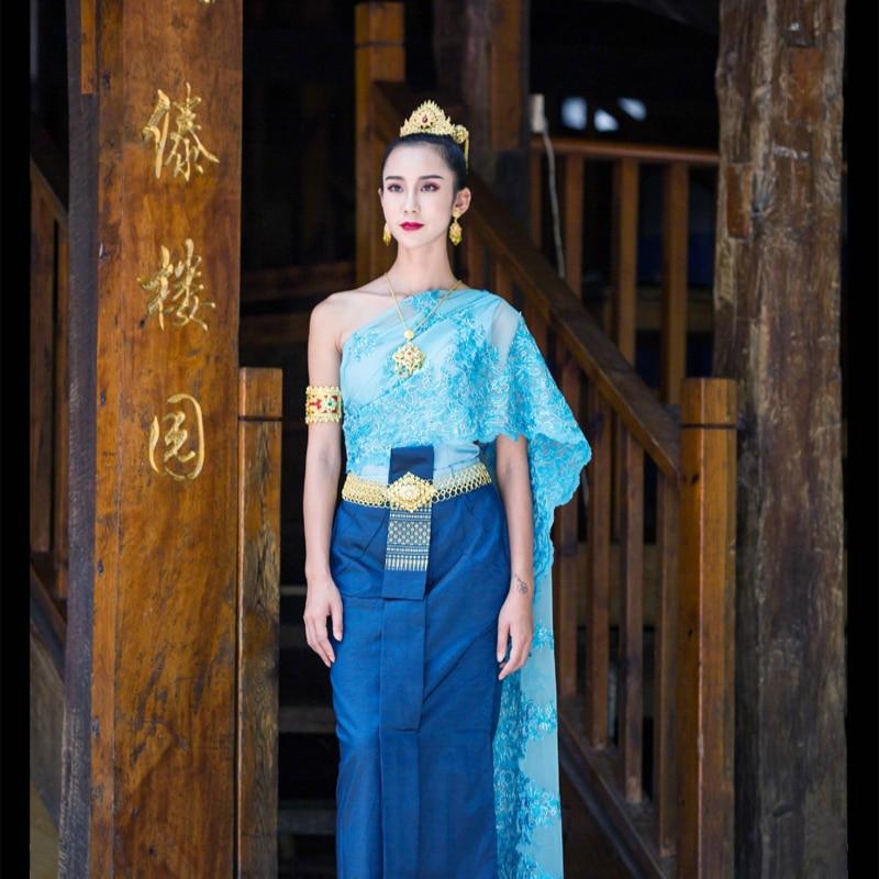 Thai Costume Single Shoulder Tops Skirts Shawl Hotel Restaurant Cashier Dresses Thailand Dress Traditional Clothing For Women