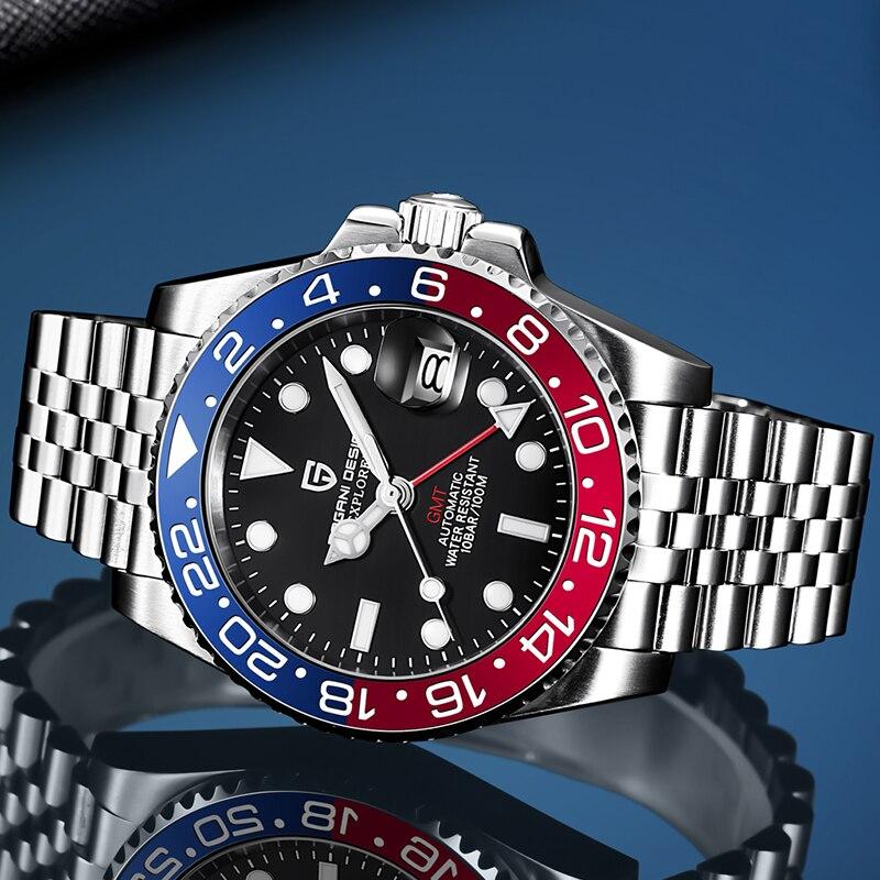 2020 novo relógio de luxo gmt pagani design men aço inoxidável automático relógios mecânicos safira cerâmica moldura relógio à prova dwaterproof água
