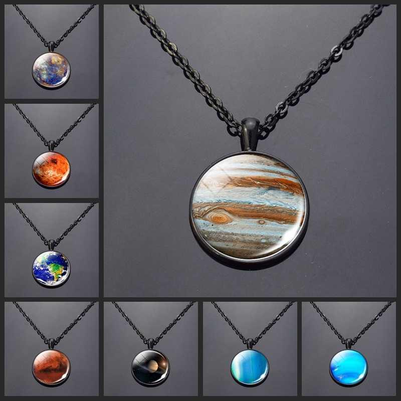 แฟชั่น Charm สร้อยคอ Mercury ดาวเคราะห์ Venus Earth Mars Jupiter Neptune จี้แก้ว Cabochon Galaxy Universe Space เครื่องประดับ
