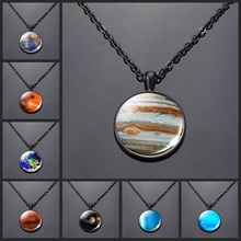 Fashion Charm Necklace Mercury Planets Venus Earth Mars Jupiter Neptune Pendant Glass Cabochon Galaxy Universe Space Jewelry mars jupiter saturn uranus sun mercury earth moon pendant lighting universe planet hanging lamp milky way planet pendant lamp