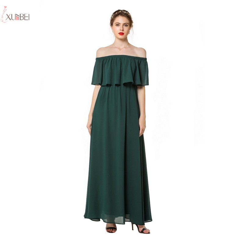 Cheap Green Chiffon Long Bridesmaid Dresses 2019 Wedding Party Dress Elegant Off The Shoulder Guest Gown