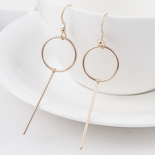2019 Simple Fashion 3 Color Geometric Long Round Vertical Bar Earrings for Women Fashion Big Hollow Drop Earrings Jewelry