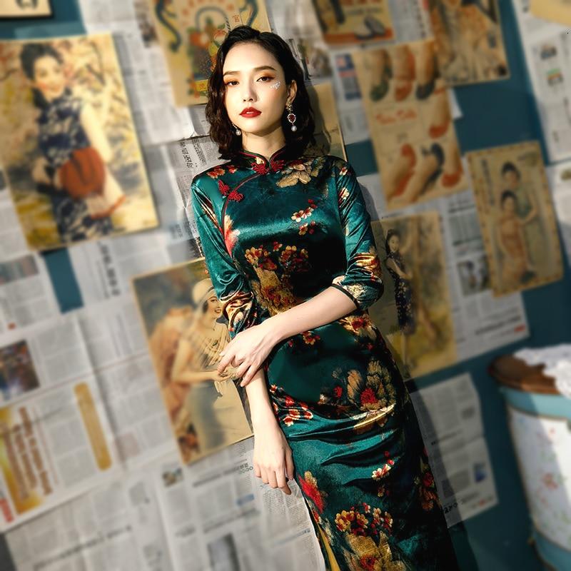 L-5XL Women Autumn Cheongsam Velour Dresses Plus Size Velvet Gilding Traditional Chinese Dress Green Long Qipao