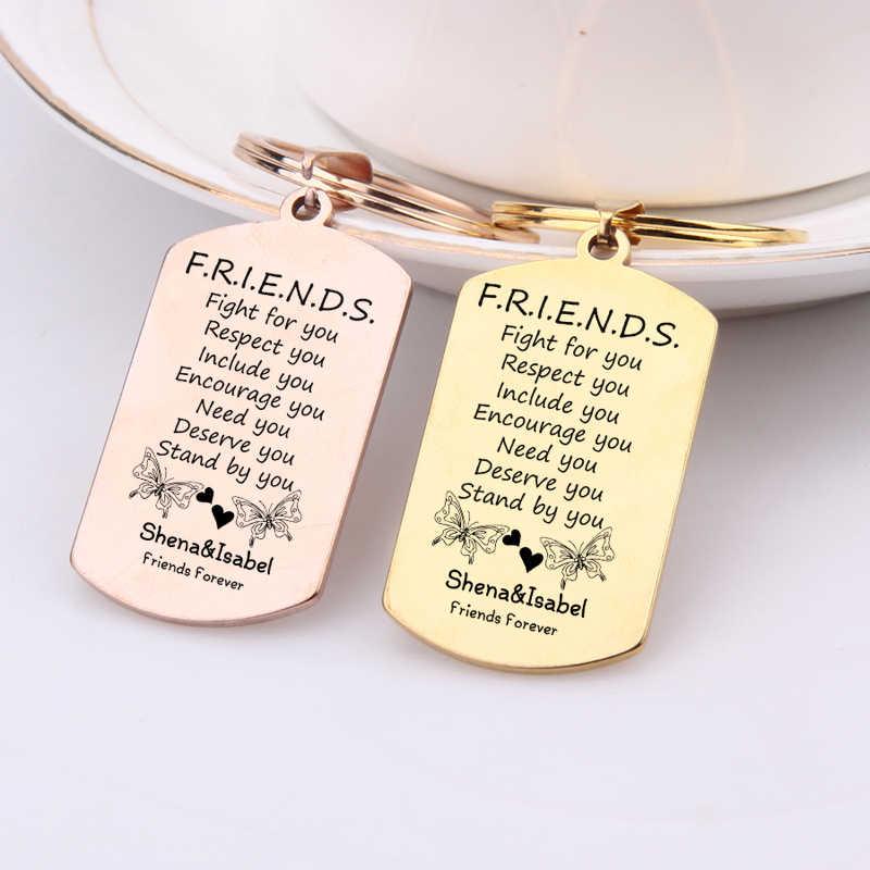 Khắc Hai Bướm Chìa khóa Người Bạn Thân Nhất Tình Bạn BFF Móc Khóa Tùy Chỉnh Tên Mãi Mãi Người Bạn Tặng Túi Thời Trang Quyến Rũ