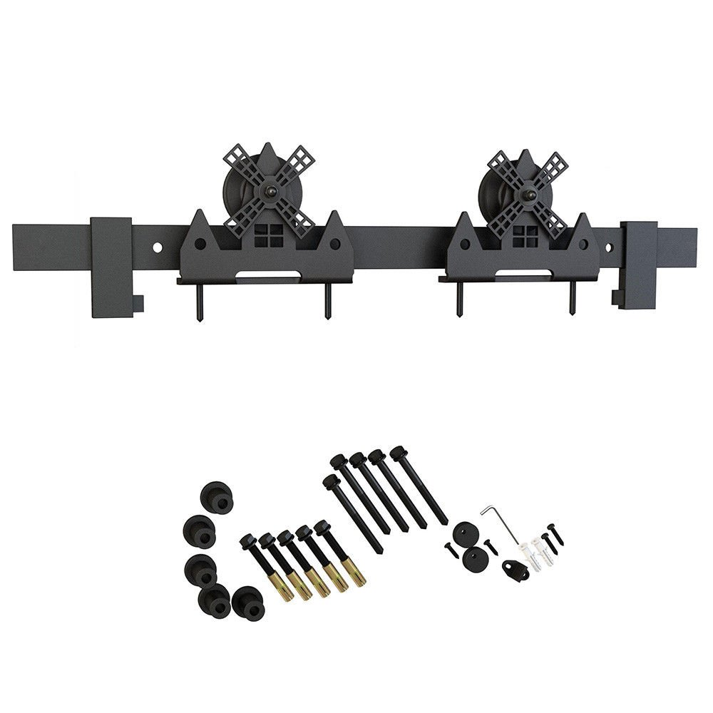 6.6ft 1 Rail Black Steel Sliding Barn Door Hardware Track Set,Windmill Hanger Roller