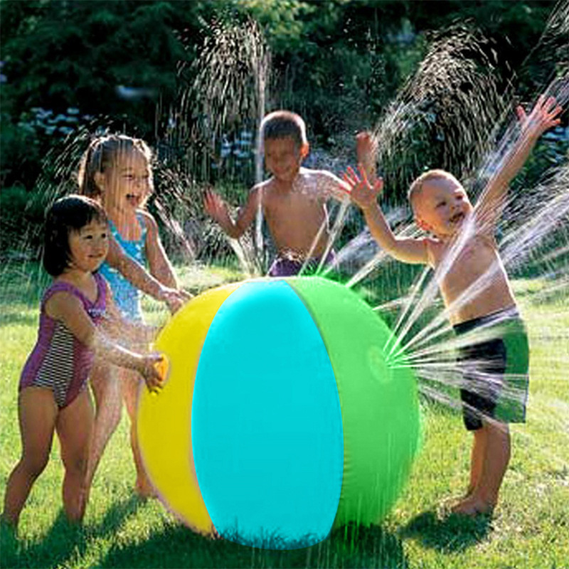 Hot Sale Lawn Summer Game Children's Toy Ball Water Jet Ball Water Balloons Inflatable PVC Water Spray Beach Ball For Outdoor
