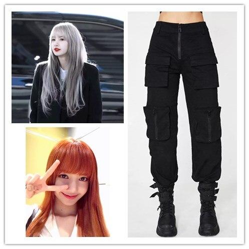 kpop Blackpink Streetwear Cargo Pants Women new Casual Joggers Black High Waist Loose Female Trousers Korean Style Ladies Pants