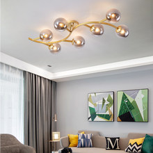 Nordic Simplicity LED Glass Ball Chandelier for Living Room Bedroom Kitchen Modern Luster 7 Heads Leaves Hanging Lamp Fixtures