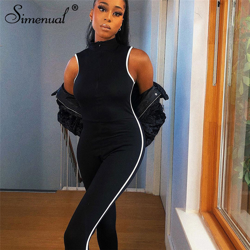 Simenual Side Striped Workout Casual Rompers Womens Jumpsuit Sleeveless Athleisure Active Wear 2020 Summer Black Jumpsuits Slim