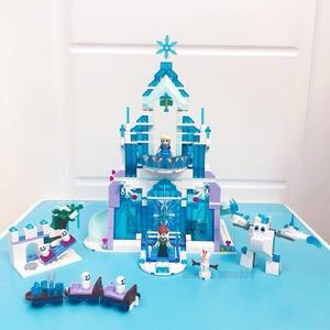 Bricks Toys Building-Blocks Ice-Castle-Set Snow Magical Girls Elsa Compatible World-Series