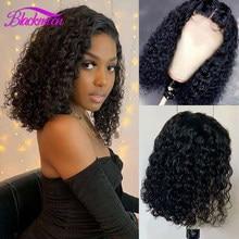 Brasileiro encaracolado bob frente do laço perucas de cabelo humano para as mulheres 13x4 encaracolado bob peruca frontal cor natural 4x4 fechamento do laço peruca cabelo remy